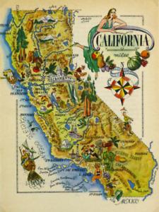 California Antique Vintage Pictorial Map  (Postcard size)