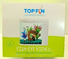 New Top Fin Fish Eye View 2 Gallon Fish Aquarium With Filter & Led