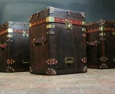English Handmade Leather Campaign Chest Style Side Table Trunks