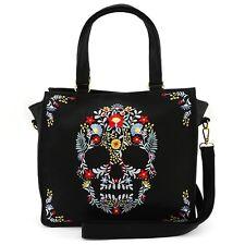 Loungefly Floral Sugar Skull Punk Emo Goth Rocker Bag Handbag Purse LFTB0579