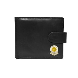 Leeds United football club black leather wallet with coin pocket, new in box
