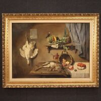 Great still life painting oil on canvas framework game fruit antique style