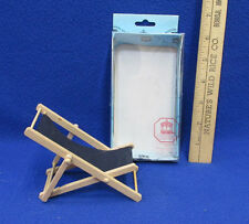 Miniature Dollhouse Wood & Cloth Folding Deck Beach Chair Town Square