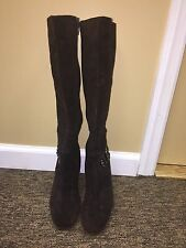 Franco Sarto knee hight boots -leather upper- brown zipper size 8.5 M pre-owned