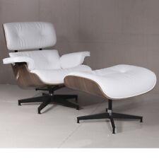 Retro Contemporary Leather Lounge Chair & Ottoman Stool Italian Leather White