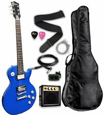 NEW Raptor LP STYLE Flat Top Classic Electric Guitar Package - BLUE + Amp + Bag