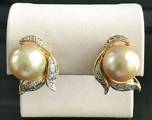 13 mm Golden South Sea Pearl and Diamond 14k Yellow Gold Earrings