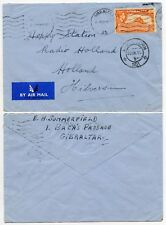 GIBRALTAR 5d SINGLE FRANKING to HOLLAND AIRMAIL 1951 HAPPY STATION RADIO