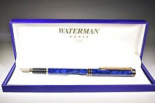 WATERMAN EXCLUSIVE  BLUE & GOLD TRIM FOUNTAIN PEN 18K GOLD  FINE  PT  IN BOX  @