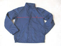 VINTAGE Nautica Sailing Jacket Adult Small Navy Blue Red Hooded Windbreaker 90s