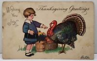 Thanksgiving Greeting Girl Fruit Basket Turkey 1924 To Hagerstown Md Postcard D4