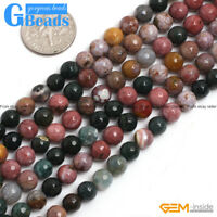 """Natural Multi-Color Ocean Jasper Gemstone Faceted Round Jewelry Making Beads 15"""""""