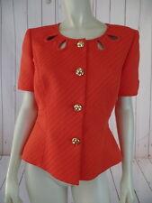 Tahari Blazer 8 Orange Textured Poly Cotton Spandex Fitted Short Sleeve Chic