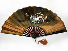 Antique hand painted fan. Silk, big size