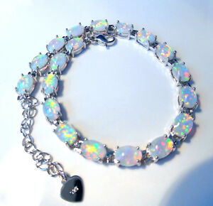"EXQUISITE  WHITE   FIRE OPAL  SILVER BRACELET  7.5"" to  8"""