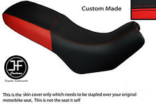 BLACK AND RED VINYL CUSTOM FITS CAGIVA GRAN CANYON 900 DUAL SEAT COVER ONLY