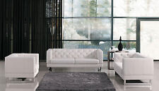 NEW Modern White Faux Leather Sofa Couch Loveseat Chair - CEDORA Living Room Set