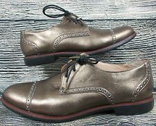 Cole Haan Womens Oxfords Gold Leather Cap Toe Brogue Lace Up 8 B