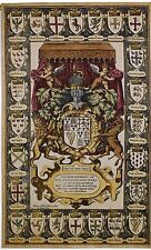 """CREST OF KINGS 63"""" TAPESTRY  COAT OF ARMS French Royal Shield Crown Unicorn Lion"""