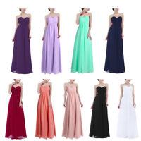 UK Womens Chiffon Long Bridesmaid Dress Elegant Evening Party Wedding Prom Gown