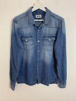Men's Vintage Tommy Hilfiger Denim Over-Shirt Popper Button Blue UK Size S Small