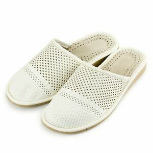 Womens  leather slippers sandals Ladies Size 4 5 6 7 8 9 10 Natural White