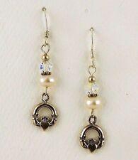 pearls & Swarovski Crystal bead Sterling silver Irish Claddagh Earrings Cultured