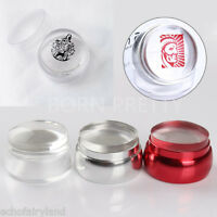 Nail Art Stamping Stamper W/Cap & Scraper Clear Silicone Jelly Chess Design Kit