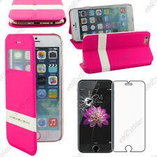"Accessoire Housse Coque Etui S-View Flip Cover Rose Apple iPhone 6 4,7"" + Verre"