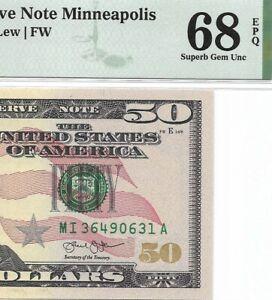 2013 $50 MINNEAPOLIS FRN, PMG SUPERB GEM UNCIRCULATED 68 EPQ BANKNOTE