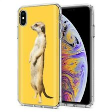Thin Gel Phone Case Apple iPhone Xs Max,Realistic meerkat Animal Jungle Print