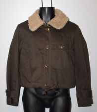 Womens Fossil Military Jacket Coat Brown Small Bomber Aviator Faux Fur Collar