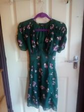 Pretty Green & Pink Floral Vintage 1940s Style Dress! Size 12