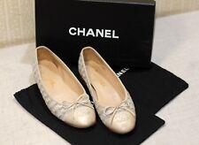 800$ CHANEL classic multicolor tweed CC cap toe shoes ballet flats 38 us7.5 uk5