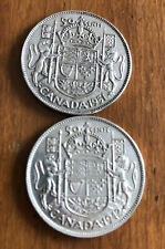 Lot Of 2 Canada Silver Half Dollars -  50 Cents - 1942 & 1951