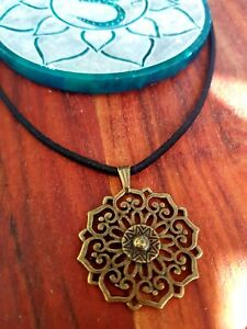 Mandala Yoga Pendant ♡ Balance Harmony ♡ Choose black or brown suede leather ♡