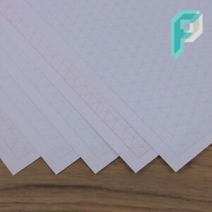 A4 Isometric Graph Paper 10mm 1cm Triangles, Choice of Colour, 5 to 100 Sheets
