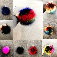 New Large Real Faux Fur Pompom Key chain Multi Colour Pom pom Keyring UK