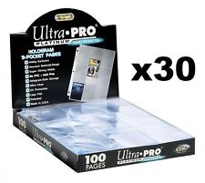 30 x ULTRA PRO PLATINUM TRADING CARD 9 POCKET SLEEVES PAGES MTG POKEMON AFL