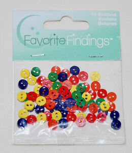 Favorite Findings Multi-Color Primary Colors Miniature Round Flat Buttons 75ct