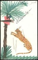 1908 VINTAGE ORIGINAL DRAWING PAINTING of LEOPARD & SCARED MAN up TREE POSTCARD