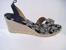 COACH HENLEY Black Signature Wedge Size 9 1/2 B, Missing Both Ankle Straps,NEW