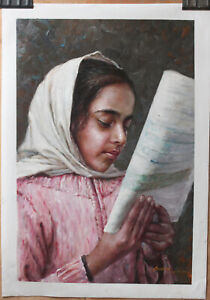 """Fine art original oil painting on canvas portrait of Afghan Girl reading 16""""x24"""""""
