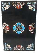 "36"" x 24"" Black Marble Center Dining Table Top  Pietra Dura Inlay Floral Work"