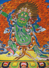 "16"" BLESSED NATURAL MINERAL COLOR SILKPRINT TIBETAN THANGKA: GREEN VAJRAPANI ="