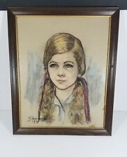 Vintage Stevens 1971 Color Art Sketch Drawing Original Framed Pencil Painting