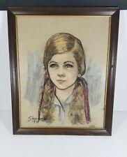 Vintage 1971 Woman Color Sketch Drawing Original 18×22 Pencil Art Painting