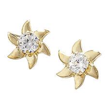 Pendientes de joyería con gemas transparentes de oro amarillo