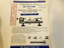 Wade Tool Co. No.3 Toolmaker's Precision Bench Lathe Screw Cutting & Chasing '42
