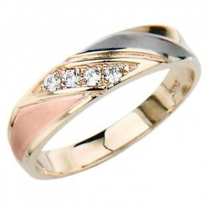 14K Tri-color Solid Gold Men's Women's Prong Set Simulated Diamond Wedding Ring